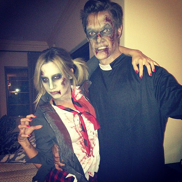 Ashley Tisdale and Christopher French as a Zombie Schoolgirl and Priest