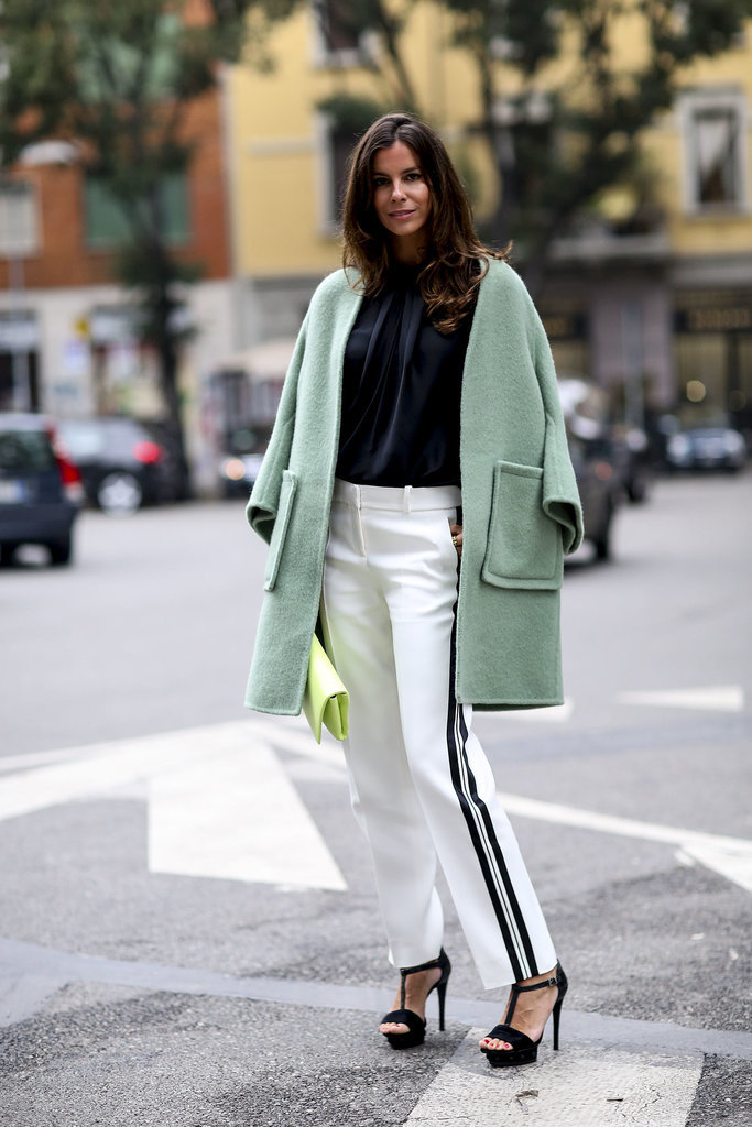 Black and white contrasts make this coat all the more eye-catching.