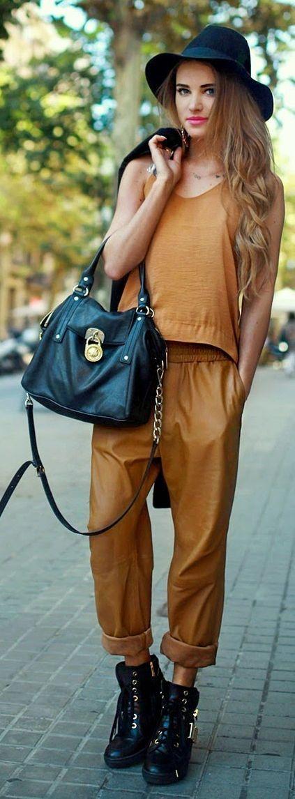 Camel Roll-up Leather Pants#handbag
