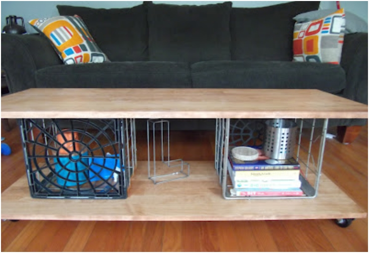 Metal Milk Crate Coffee Table