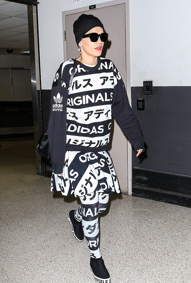 Rita Ora wears skirt AND leggings with matching sweatshirt…