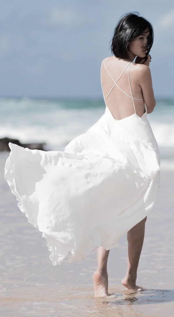 White Flowy Strappy Back Maxi Dress
