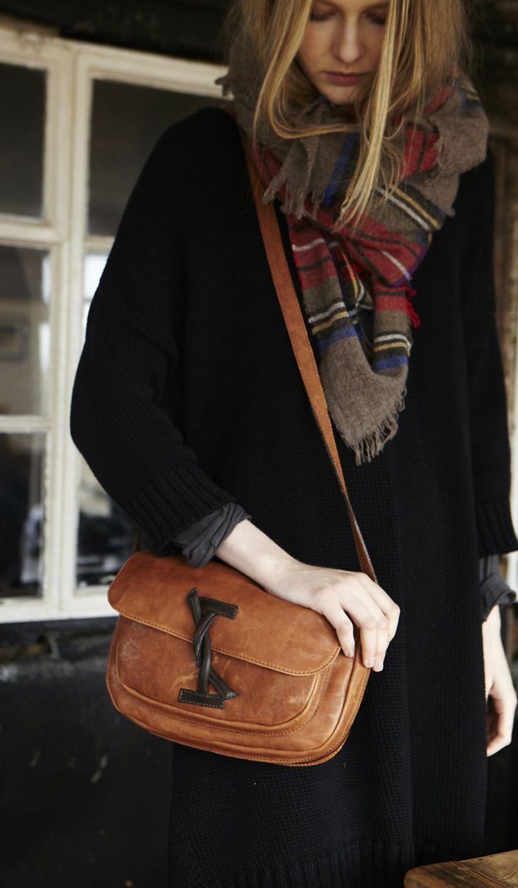 classic coat, cute scarf, & everyday satchel