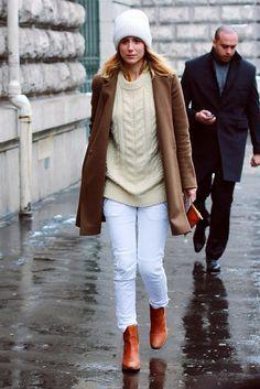 white jeans, cream sweater, tan coat, cognac boots