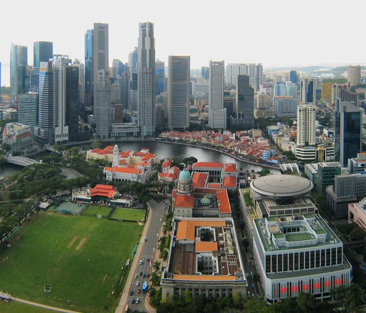 A panoramic view from the Stamford hotel towards Singapore's Colonial District,