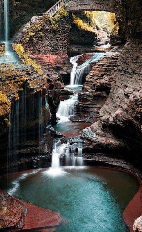 Rainbow Falls at Watkins Glen State Park south of Seneca Lake in Schuyler County, New York.111