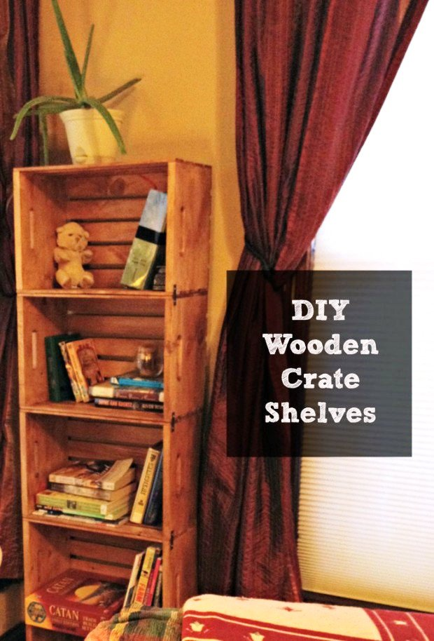 Bookshelf from Unfinished Wooden Crates