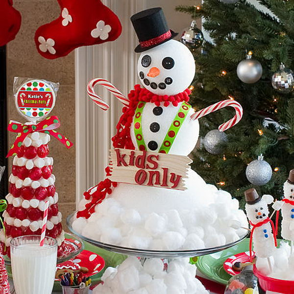 snowman centerpiece from cotton and styrofoam