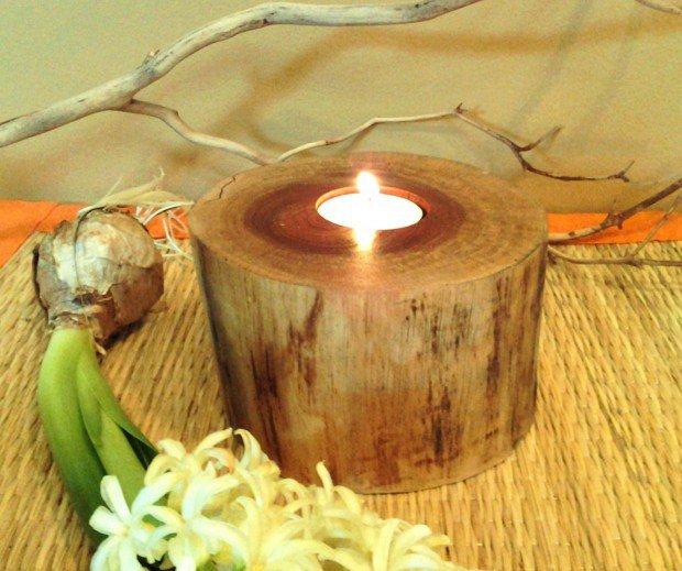 Australian Pine Wood tree branch candleholder