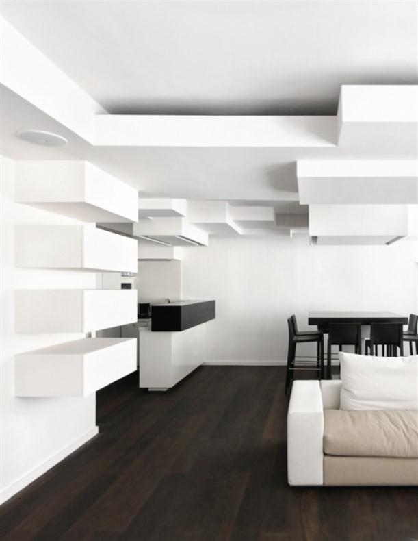 Black-and-White-Apartment-Interior-Design-with-complex-wall