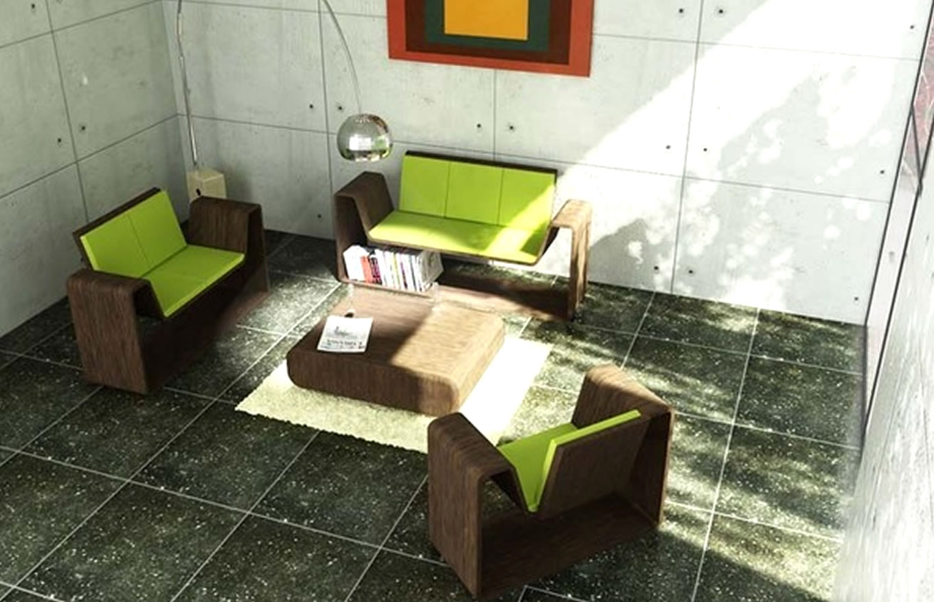 Mimimalist-Living-Room-Interior-Design-Concept-Frame-in-Green-Grass-Color-by-Gabriel-Canas-Mexico