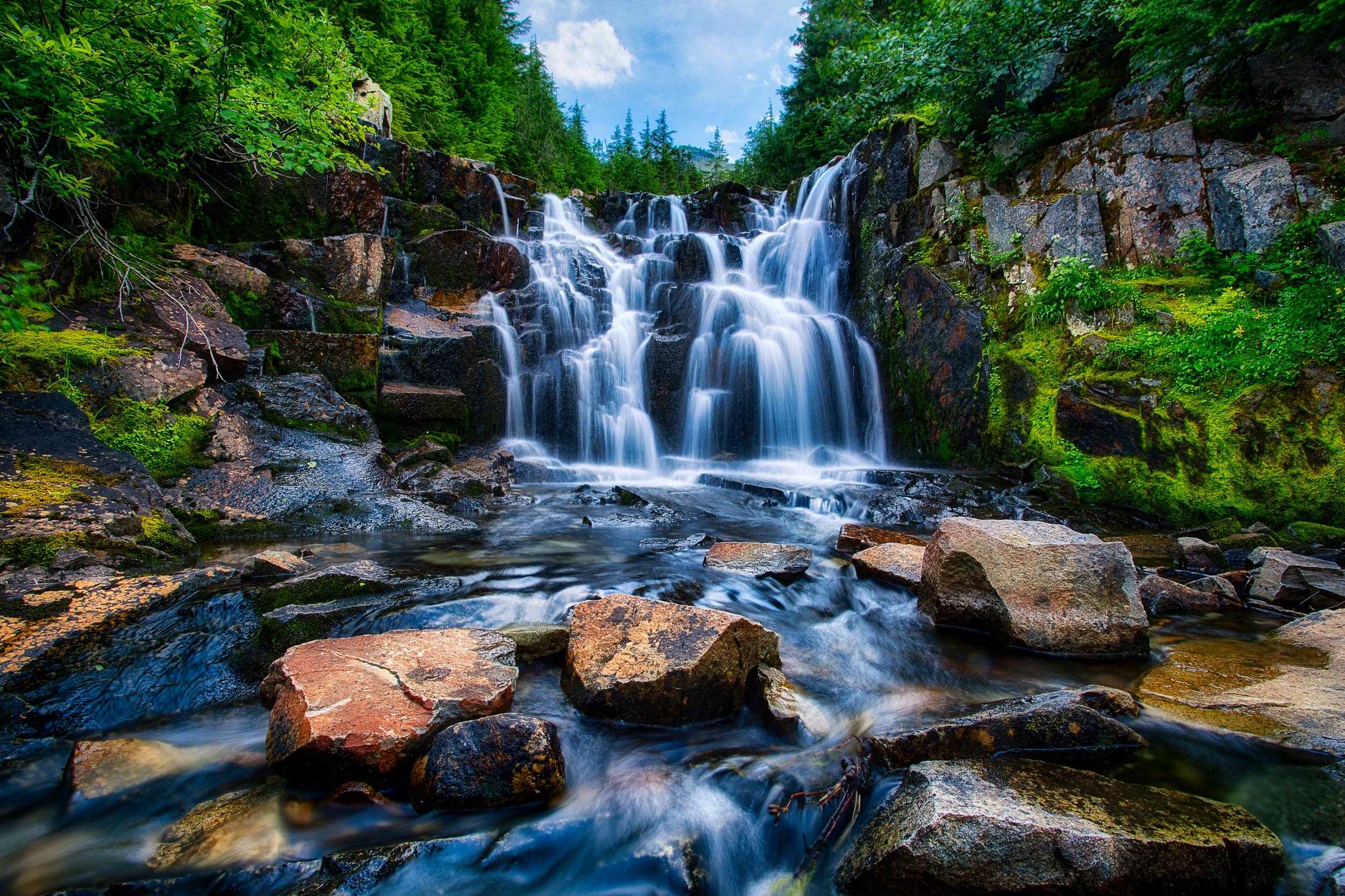 Waterfall-in-Mount-Rainier-National-Park-by-Michael-Matti
