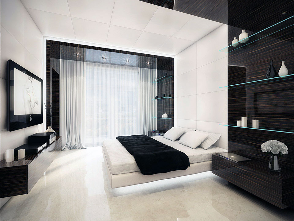 elegant-black-and-white-bedroom-interior-design-with-white-platform-bed-featured-recessed-light-ideas