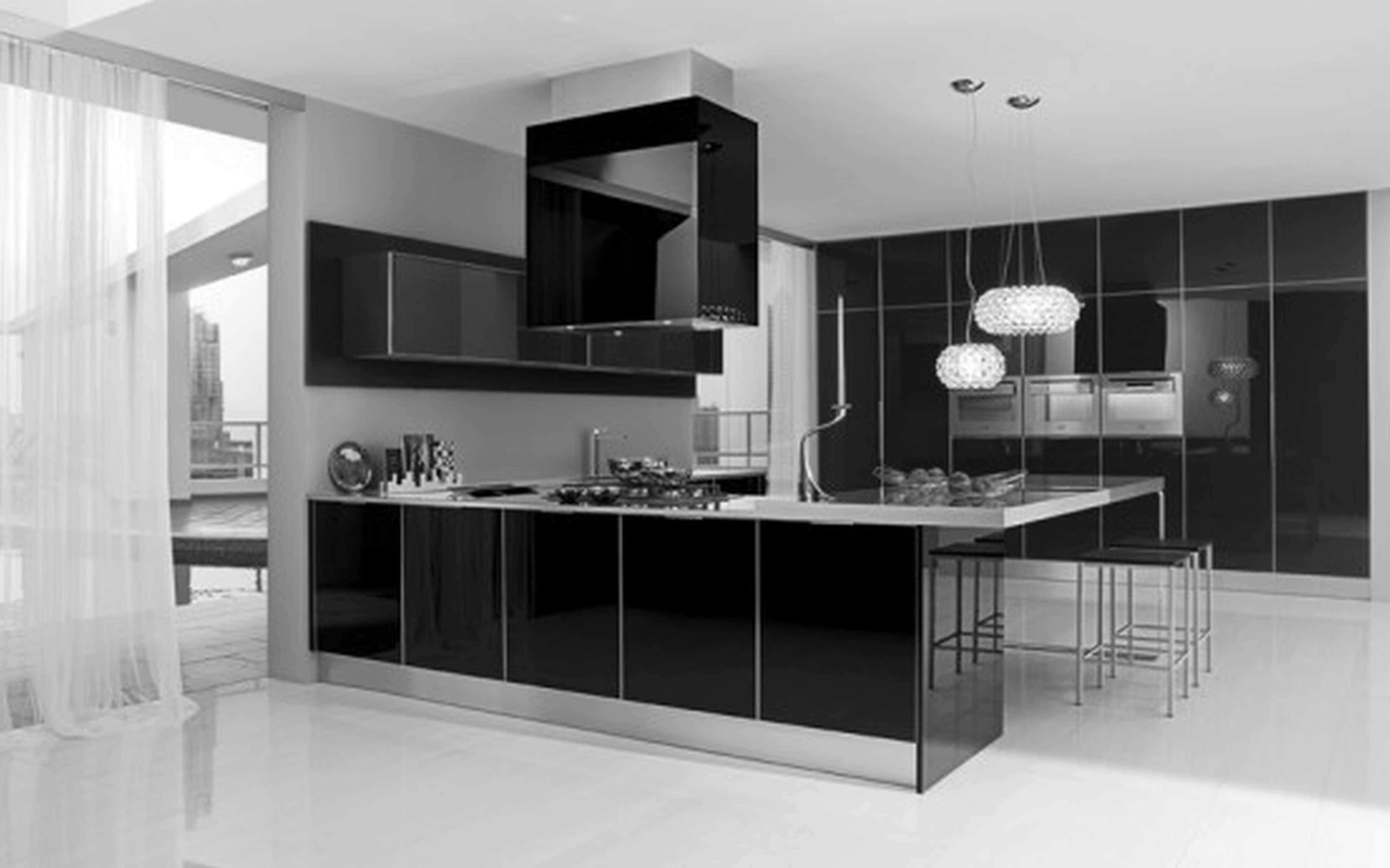 30 monochrome kitchen design ideas. Black Bedroom Furniture Sets. Home Design Ideas