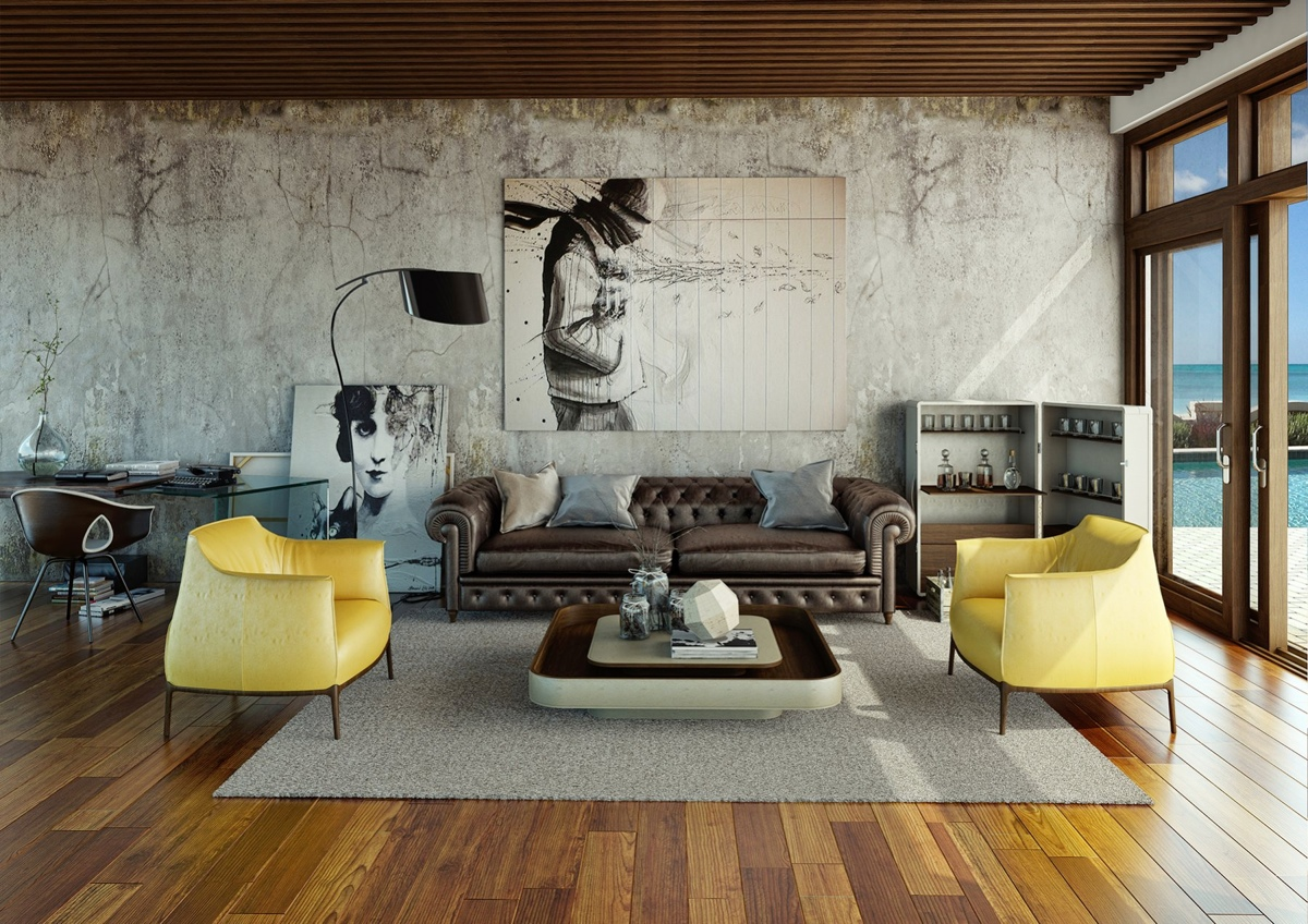 living-room-design-ideas-with-urban-nuance-with-laminate-flooring-design-with-grey-carpet-flooring-design-with-brown-sofa-with-cushion-and-yellow-armchair-with-glass-door-and-leather-coffee-table