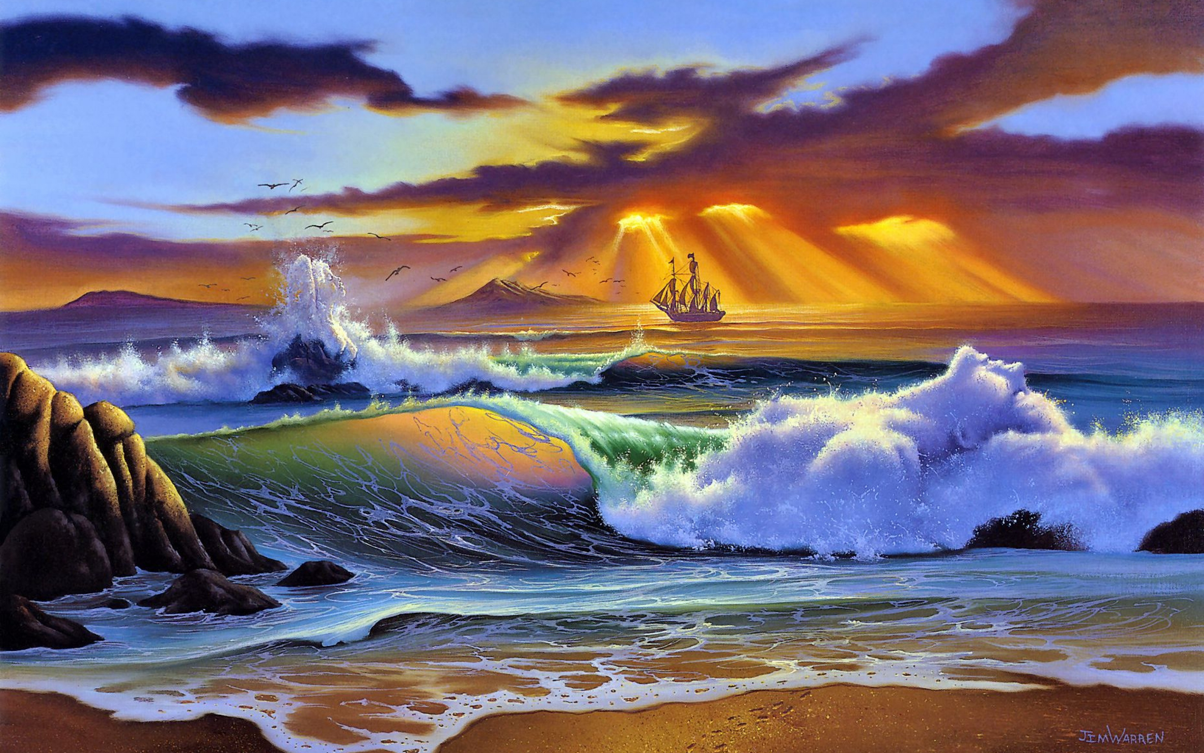 sea_beach_art_painting_craft_sun_rays_evening_storm_48135_3840x2400