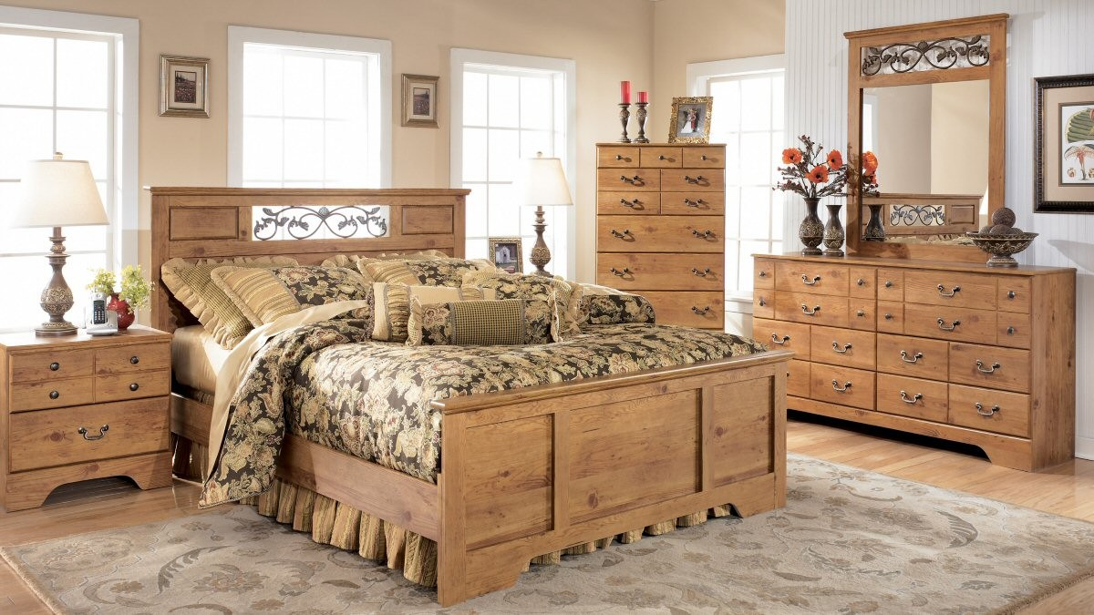 stained-headboard-design-feats-with-homely-rustic-bedroom-design-and-bright-french-windows