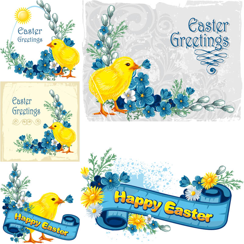 Easter-greeting-cards-with-chick-vector
