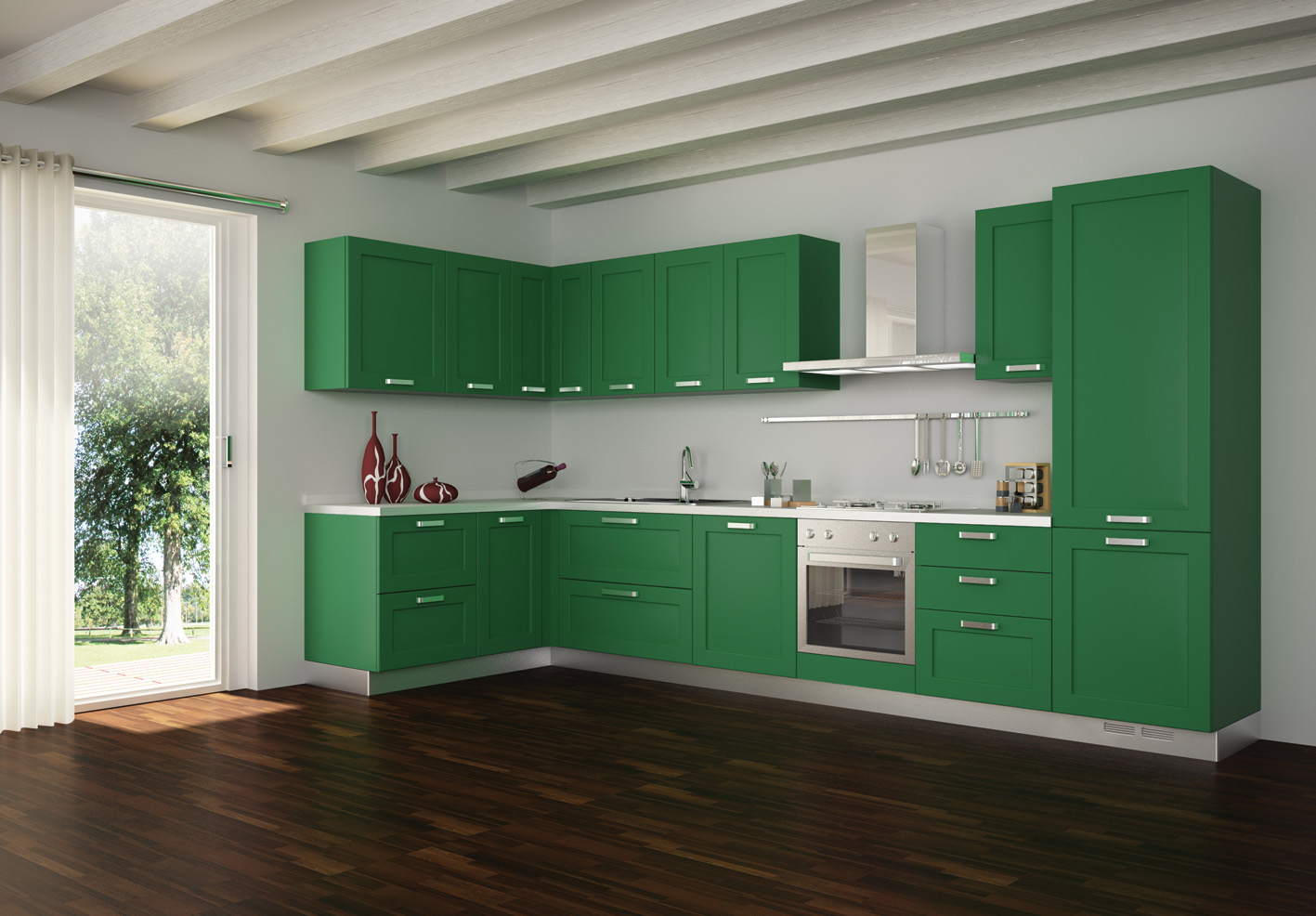 amazing-green-theme-modern-kitchen-design-bright-colors-interior-wood-texture-floor-white-wall-white-curtain-stainless-stell-spon-plate