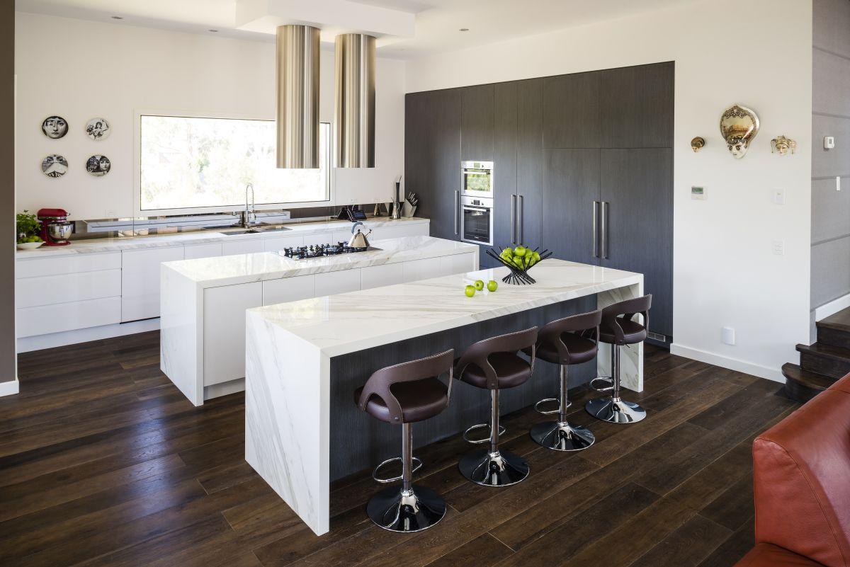 Modern Kitchen, Twin Islands, Marble Bench Top