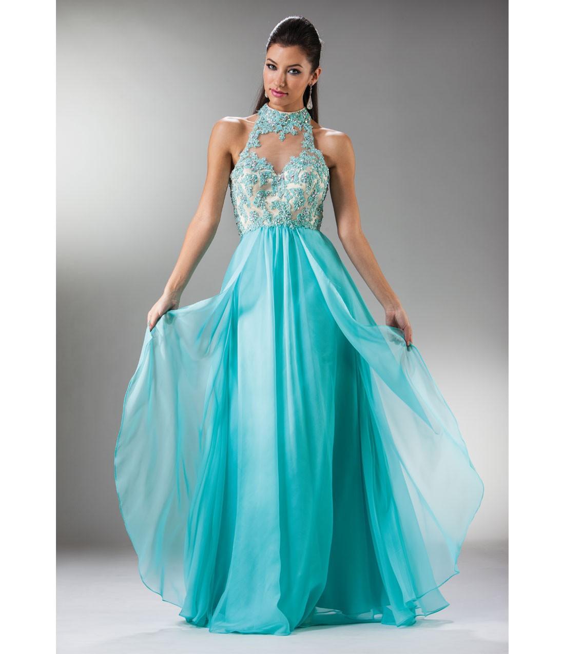 Aqua_Chiffon_Embellished_Collared_Gown
