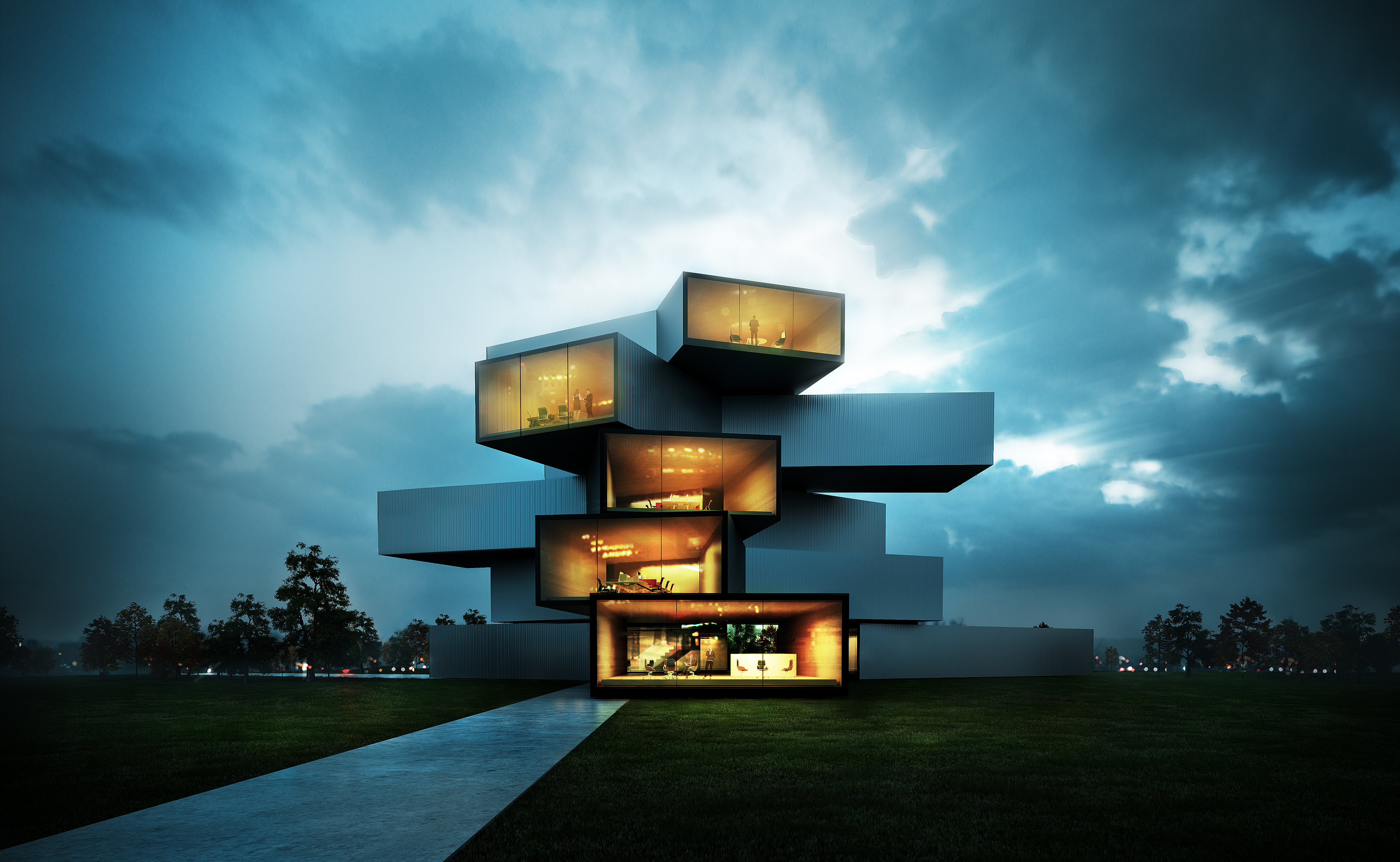 25 awesome examples of modern house for Modern home design 3d