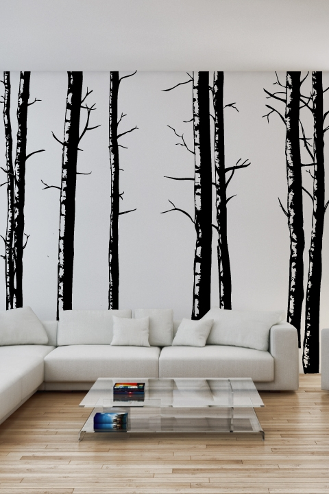 30 best wall decals for your home for Birch tree wall mural