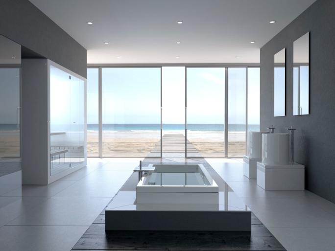 Designer Bathroom with Oceanview