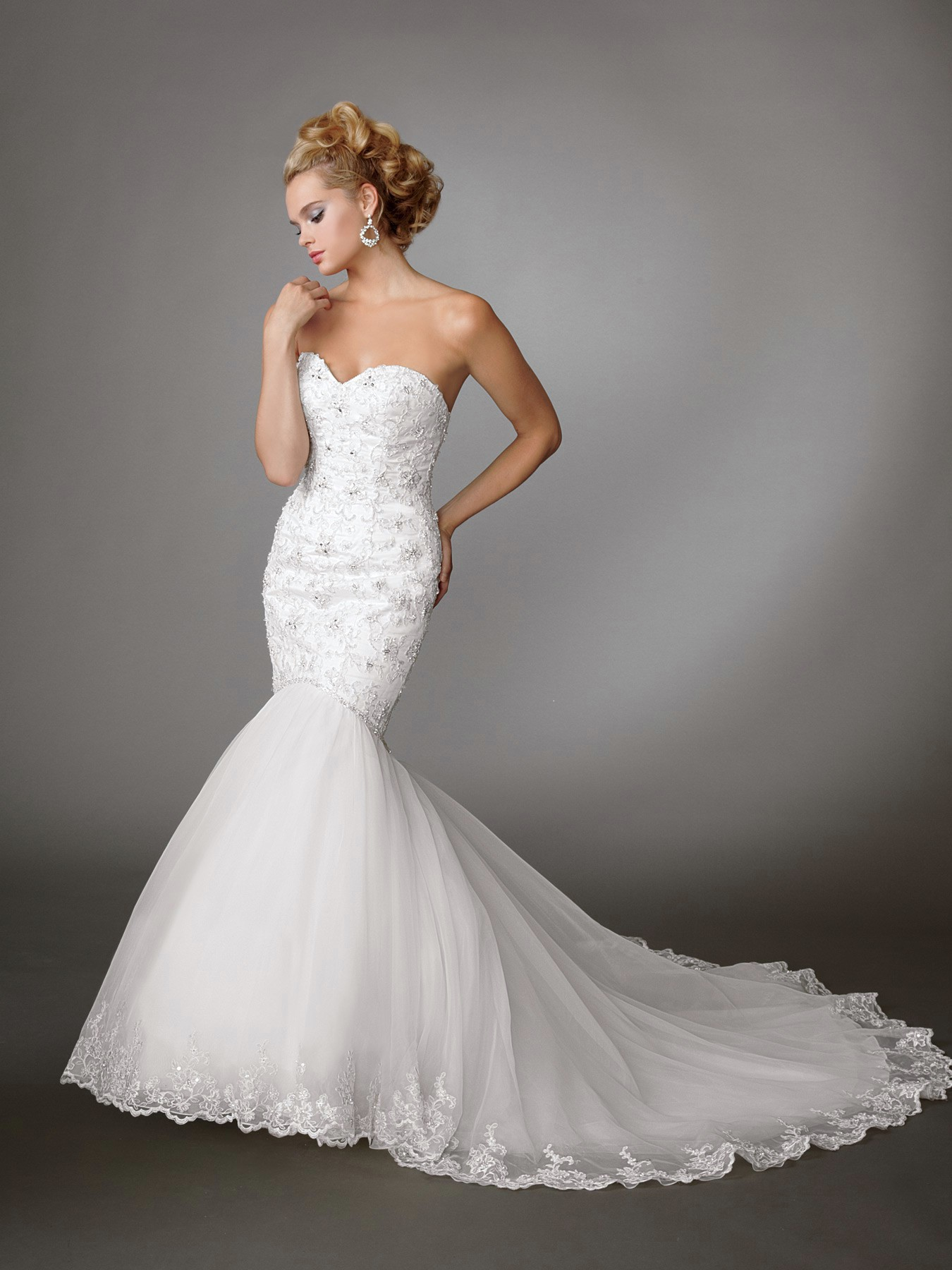 Mermaid wedding dresses an elegant choice for brides for Heart shaped mermaid wedding dresses