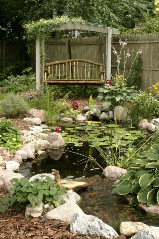Amazing backyard pond design ideas for Small garden with pond design