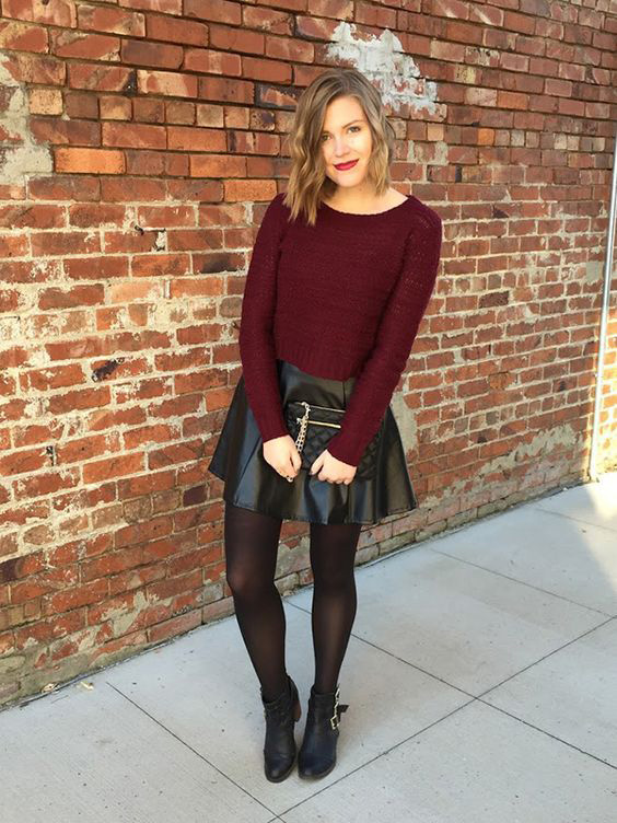 cool leather skirt outfit