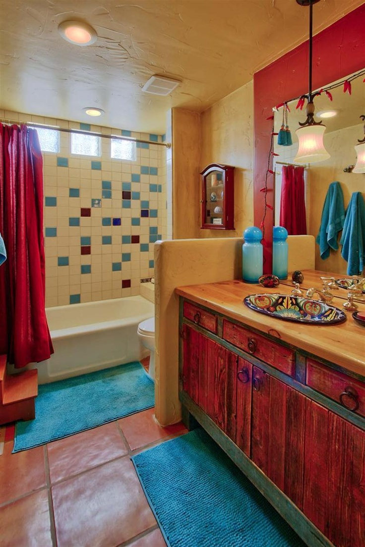 25 southwestern bathroom design ideas for Bathroom decor ideas images