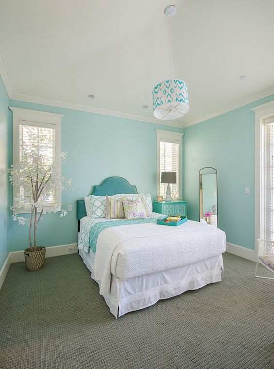 Turquoise And Black Painted Room