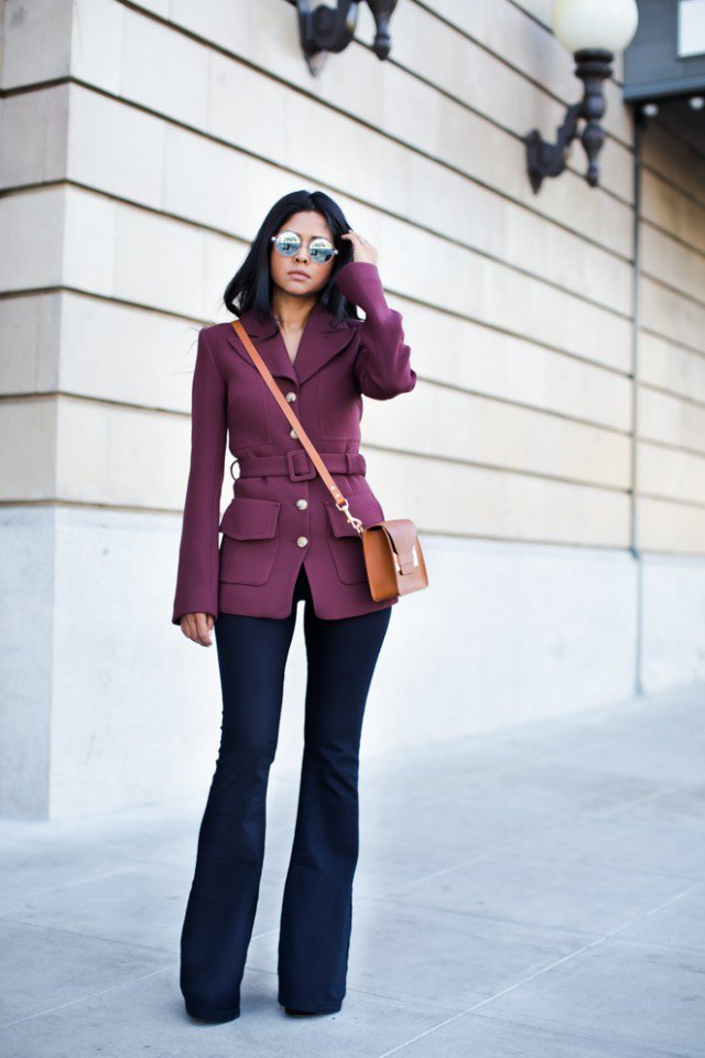 Purple-Coat-with-Flared-Jeans