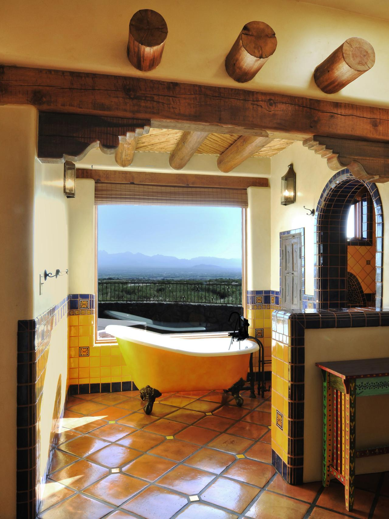 Yellow-Southwestern-Bathroom-Design