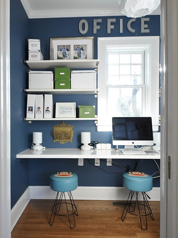 white and blue Tropical Home Office Design