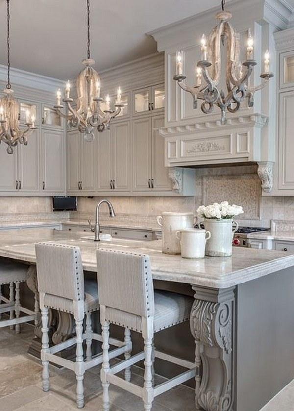 Gray Kitchen with Stylish Mini Chandeliers
