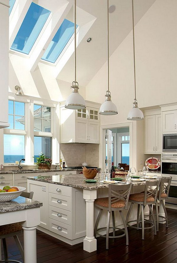 Large White Kitchen with Skylights