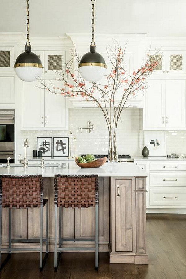 Small Hicks Pendants over a Walnut Stained Kitchen Island