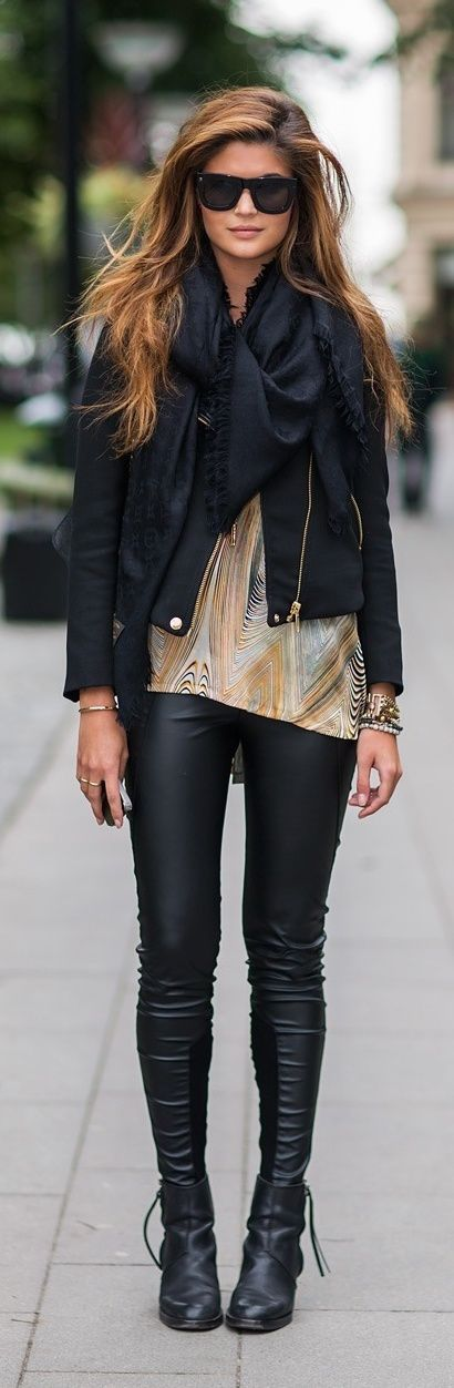 Black Style for Winter and Black Scarf