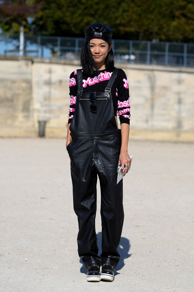 Moschino print got covered in edgy leather overalls.