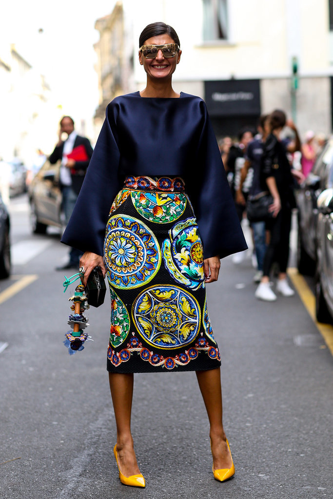 bold skirt and just-as-bold shades.