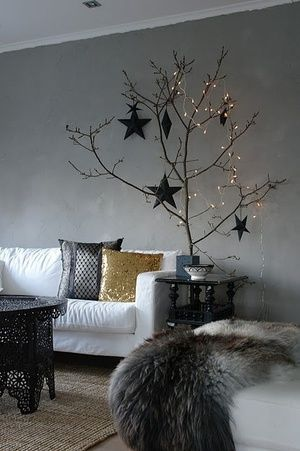 Bring in some branches for a no-fuss, no-mess Christmas tree