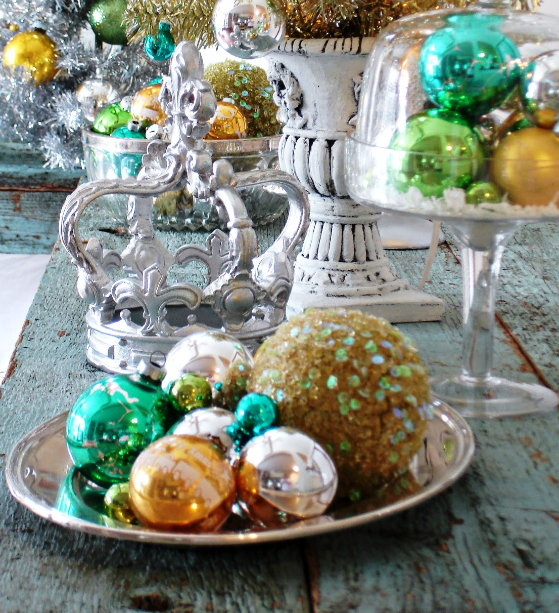 Christmas Decor Vintage Retro Shiny Brite Ornament Display Silver Platter Cloche framed