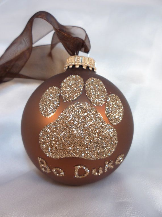 Dog Paw Print Glitter Christmas Ornament