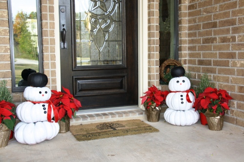 Repurposed Pumpkins…Snowmen Welcome You to our Home this Christmas