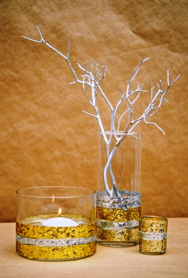 DIY Glitter Tape Decorated Glass Votives