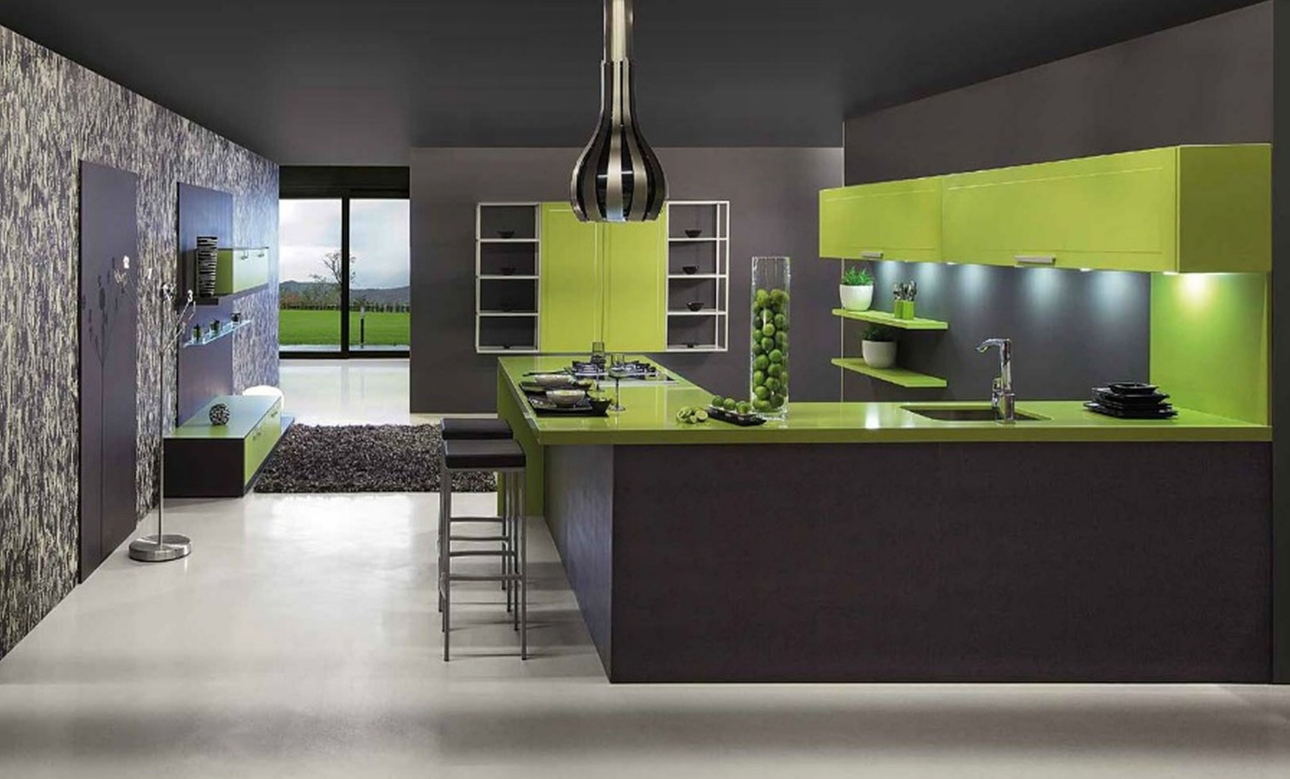 cool-decor-ideas-with-modern-kitchen-floor-tile-and-dark-black-walls-and-ceiling-and-white-floor-and-nice-window-and-unique-hanging-lamp-and-nice-green-kitchen-furniture-design