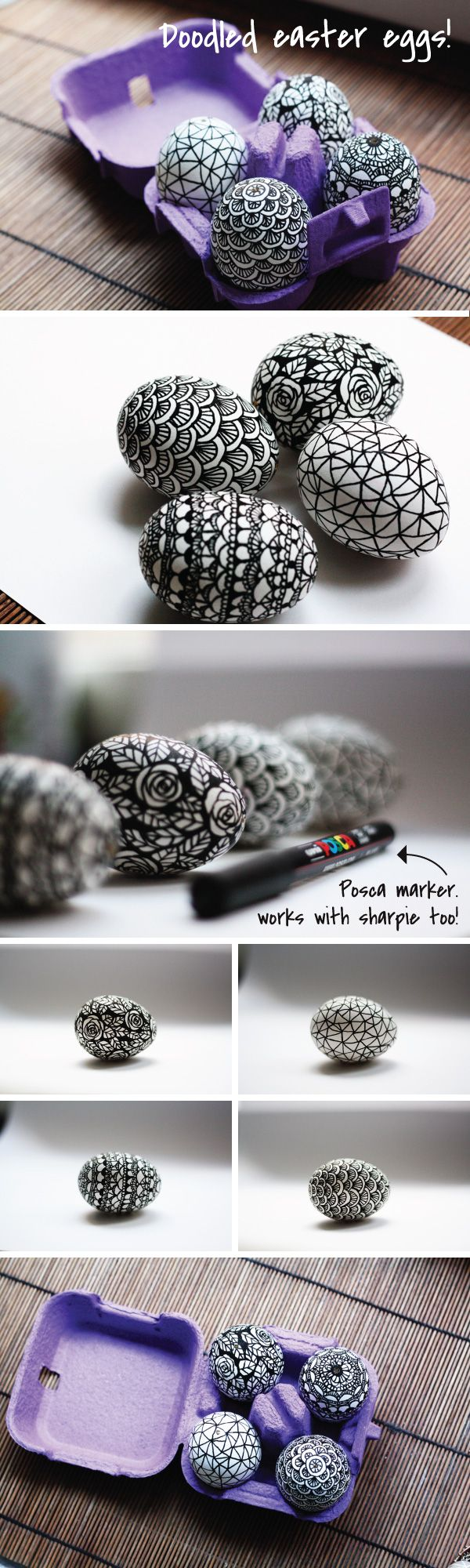 use a sharpie to decorate eggs for a black and white look