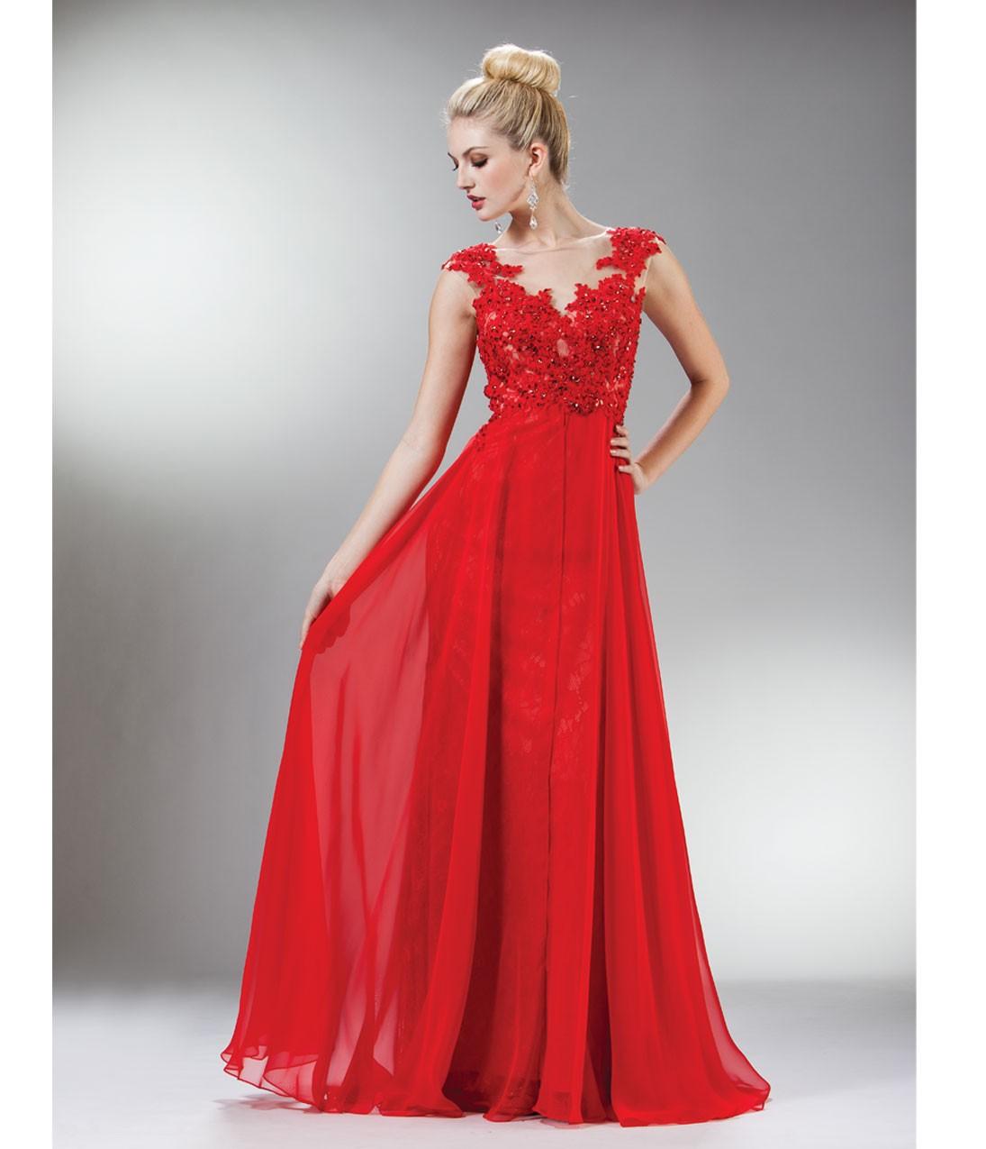 Prom_Dresses-Red_Beaded_Lace_Mesh_Cap_Sleeve_Long_Dress